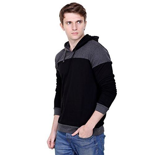Fabstone Collection black & grey cotton casual hooded sweatshirt