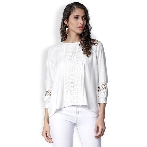 Tokyo Talkies Casual Regular Sleeve Solid Women White Top