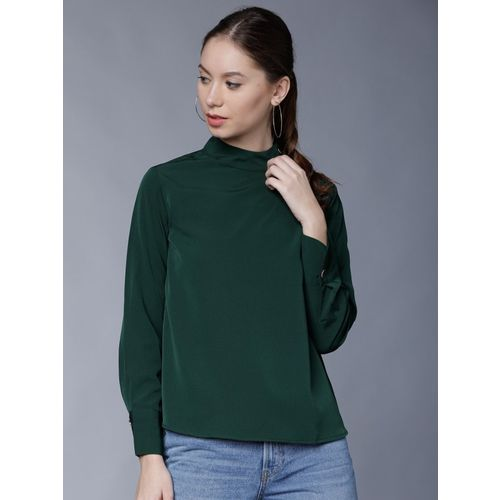Tokyo Talkies Casual Full Sleeve Solid Women Dark Green Top