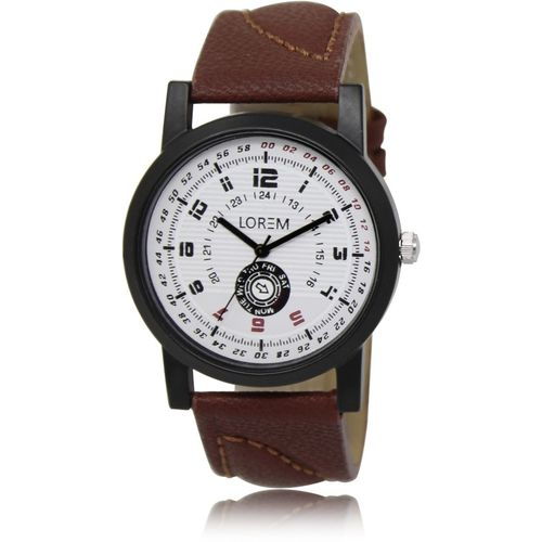 LOREM LK-11 White-Brown Round Dammy Chronograph Leather Analog Watch - For Men