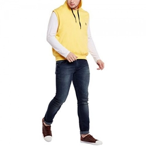 VIMAL Jonney Cotton Yellow Sleeveless Sweatshirt for Men-SW_14_01-P