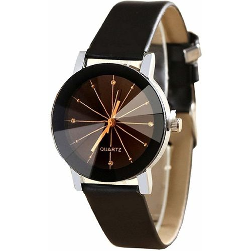 ClockRoom CR_24 New Arrival Black Round Dial Black Genuine Leather Belt Analog Watch - For Women
