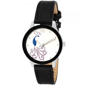 Keepkart Black Leather Strap Morni Print Dial Cutt ~ Glass ~ Designer For Girls Analog Watch - For Women