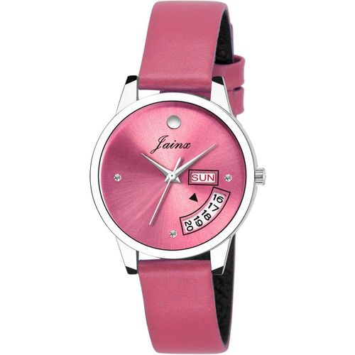 JAINX JW601 Pink Day & Date Function Analog Watch - For Women