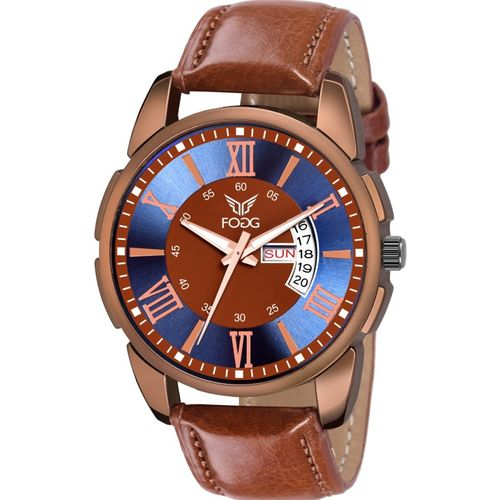 Fogg 1182-BR Brown Day and Date Unique New Hybrid Smartwatch Watch - For Men