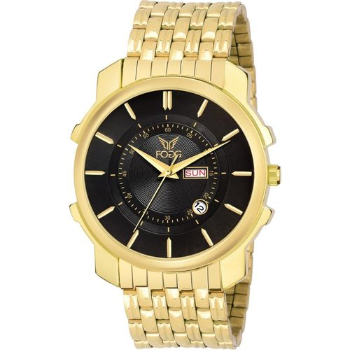 Fogg 2080-BK-GL New Gold Platted Day & Date Analog Watch - For Men