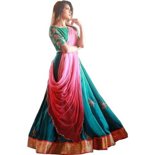 JSItaliya Embroidered, Embellished Semi Stitched Lehenga, Choli and Dupatta Set(Multicolor)
