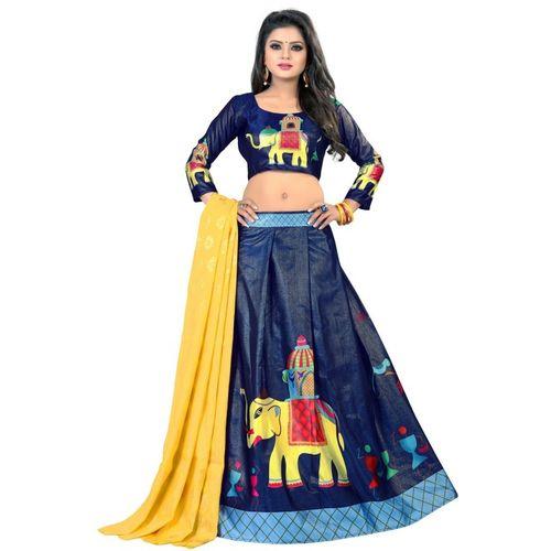 pd fashion Digital Print Semi Stitched Lehenga Choli(Blue)