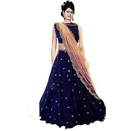 MomCreation Embroidered, Embellished Semi Stitched Lehenga, Choli and Dupatta Set(Gold, Blue)