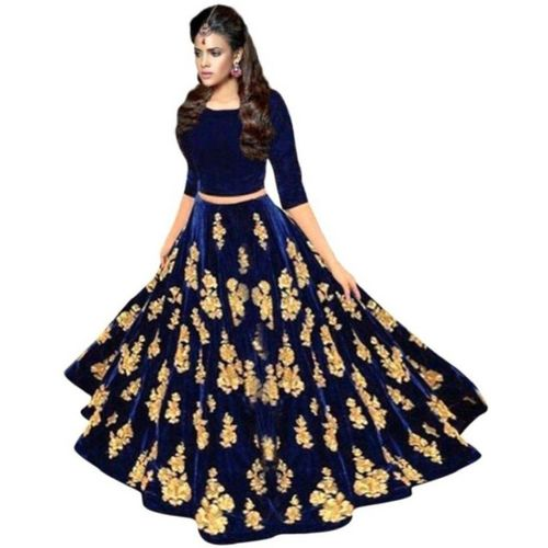 Smart Fashion Embroidered Semi Stitched Lehenga & Crop Top(Gold, Blue)