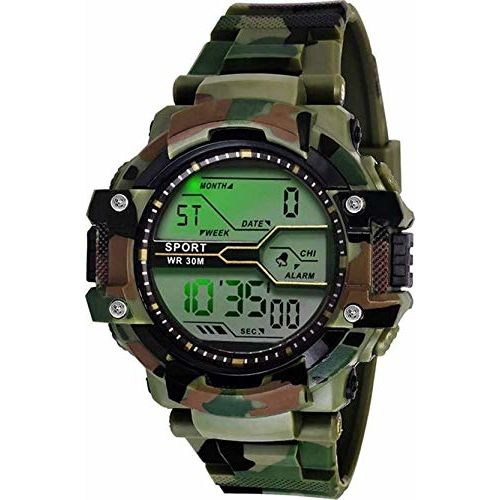 Acnos Digital Army Leather and case Watch for Men Pack of -1