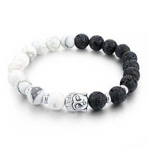 Yellow Chimes D'vine Collection Howlite Lava Stone Reiki Yoga Meditation Healing Buddha Diffuser Bracelet for Men & Women
