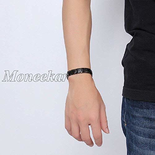 Moneekar Jewels Silver Magnetic Therapy 4 Elements 316L Stainless Steel Pain Relief Arthritis and Carpal Tunnel Bracelets for Men