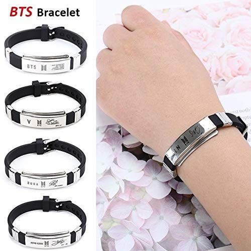 Yellow Chimes Kpop BTS Band Exquisite Signature Jimin Silicon Unisex by Yellow Chimes Silver Plated Charm Bracelet for Men (Silver;Black) (YCFJBR-01JIMIN-SLBK)