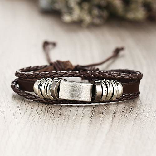 Shining Diva Fashion Genuine Leather Bracelet Wraps Casual Skin Friendly Bracelets for Men Boys