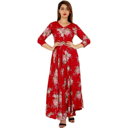 M&S FASHION Women Floral Print Gown Kurta(Red)