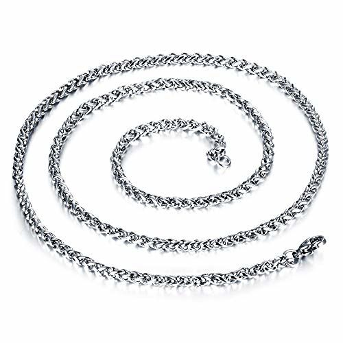 MEENAZ Mens Jewellery Valentine Silver Rope Chain Necklace Chain for Men Husband Boys Boyfriend Gents Mens Chain for Pendants -CN9136