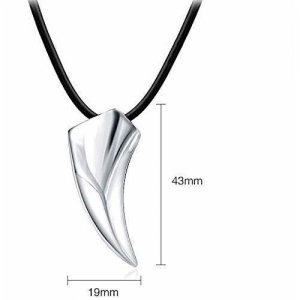 MODA ACCESSORIES Black Metal Wolf Tooth Pendant Necklace Jewellery for Men