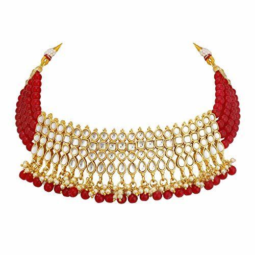 Sukkhi Gold Plated Kundan Pearl Fancy Choker Necklace Set Traditional Jewellery Set with Earrings for Women & Girls (N73502_D1)