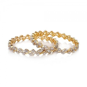 Jewels Galaxy Combo of Sparkling Floral American Diamond Bangles and Designer Pearls Bangles - Pack of 8