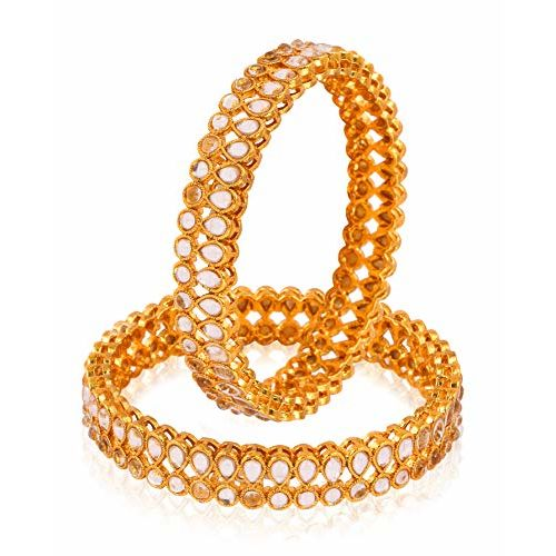 YouBella Jewellery Bangles for Women Gold Plated Kundan Traditional Party Bangles for Women and Girls