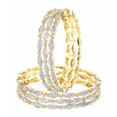 YouBella Bangles for Women Stylish Traditional Casual Party Wedding Wear American Diamond Bangles for Women and Girls