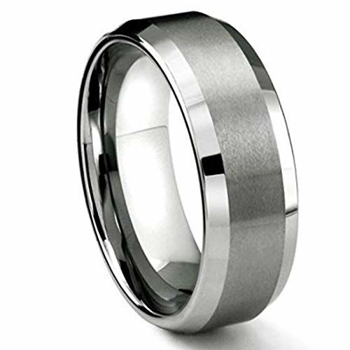 Peora 10 mm Tungsten Matte Finish Silver Band Ring for Men Boys