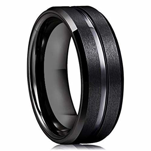 Peora Black Tungsten Grooved Centre Polished Band Ring for Men Boys