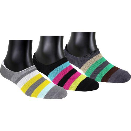 Neska Moda Women Striped Peds/Footie/No-Show(Pack of 3)