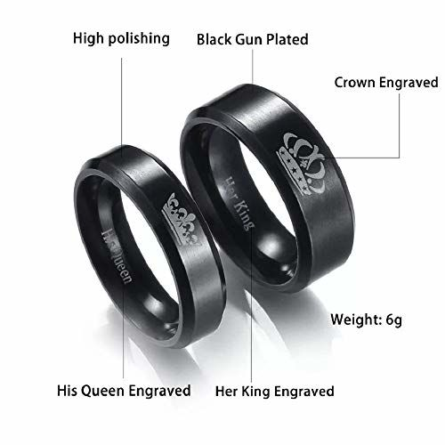 Impression Black 2Pcs His Queen Her King Titanium Stainless Steel Couple Rings, King/Queen for Men and Women (7 for Women, 8 for Men)