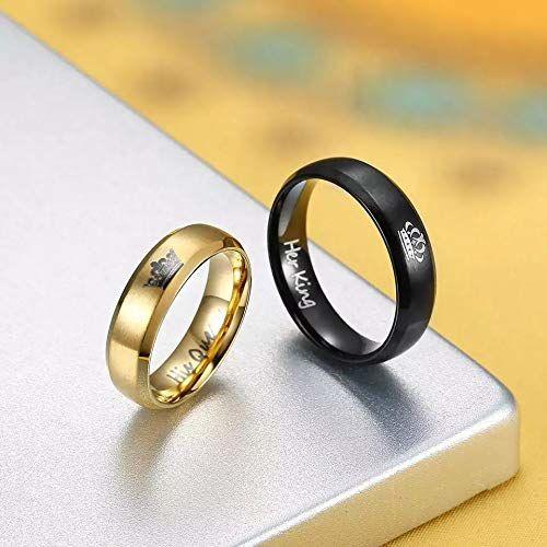 University Trendz Univ Trendz 2PCS Her King His Queen Black and Gold Titanium Stainless Steel Couple Rings for Men & Women (Please Select Men & Women Pair Size