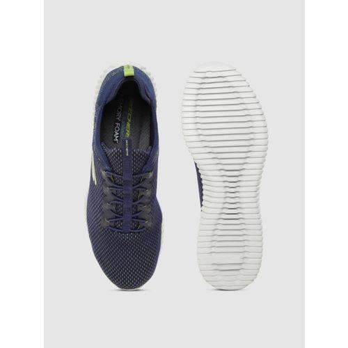 Skechers Men Navy Blue & Green Woven Design Elite Flex Training Shoes