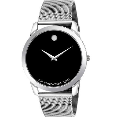 TIMEWEAR FK-189BDTG Timewear Formal Black Dial Stainless Steel Strap Slim Watch for Men Analog Watch - For Men