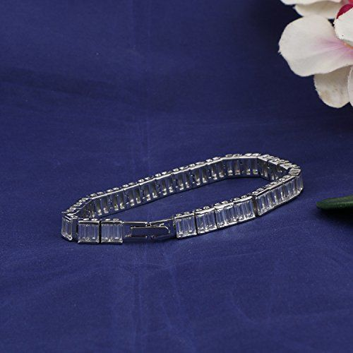Ananth Jewels Swarovski Zircon Solitaire Platinum Plated Brilliance Baguette Cut Radiant Bracelet for Women