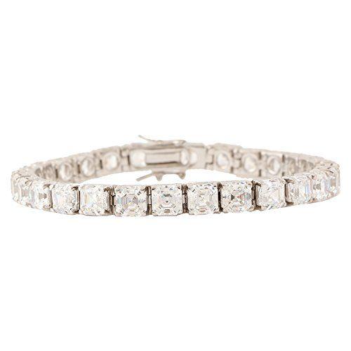 Ananth Jewels Men's Non-Precious Metal Ananth Jewels Set with Swarovski Zirconia Asscher Cut Radiant Bracelet(White)