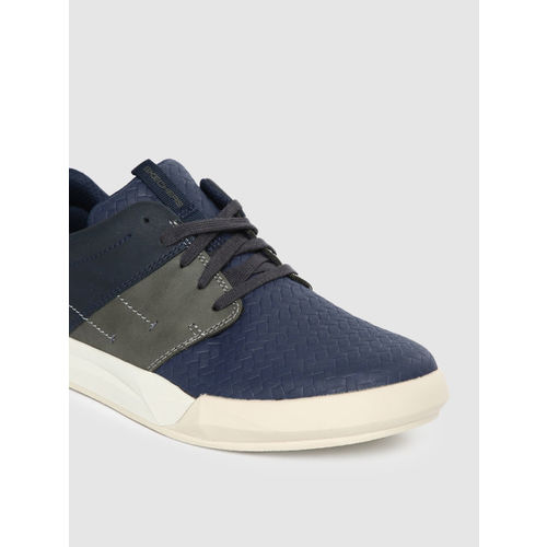 Skechers Men Navy Blue NORSEN-AVENO Leather Sneakers