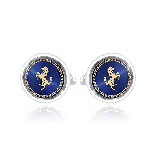 Unknown Miami Men's Blue Mother of Pearl Copper Enamel Brass Jewellery Cufflinks Set