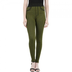 Icable Striped Women Green Tights