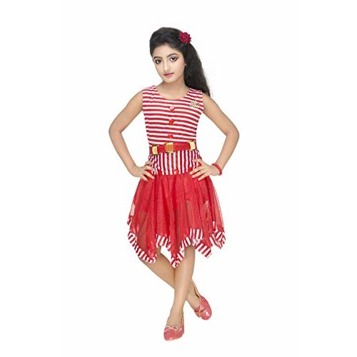 NEW GEN Girls Red  Midi-Knee  Frock