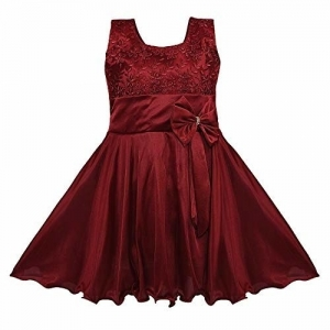 Wish Karo Maroon Soft Lycra Solid Sleeveless Dress