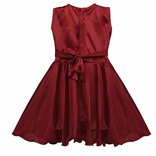 Wish Karo Maroon Soft Lycra Solid Sleeveless Party Dress
