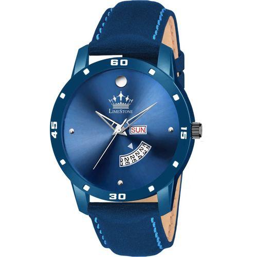 LimeStone LS2827 DayAndDate Functioning All Blue Leather Strap Quartz Mechanism Analog Watch - For Men