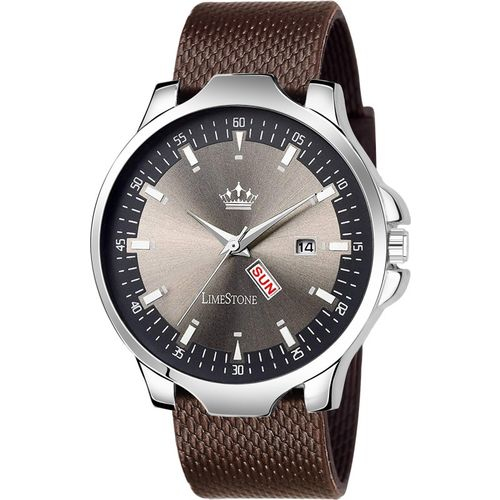 LimeStone LS2798 Day & Date Functioning Mesh Strap Grey Avatar Alloy New Analog Watch - For Men