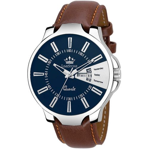 LimeStone LS2845 Day and Date Functioning Tan Strap Quartz Analog Watch - For Men