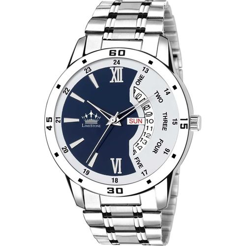 LimeStone LS2820 Bleed Blue Day and Date Functioning Steel Strap Adult Boys Analog Watch - For Men