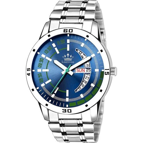LimeStone LS2852 Day and Date Functioning Blue Dial Metal Strap Quartz Water Resistant Shock Proof Analog Watch - For Men