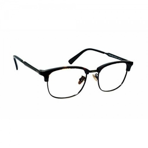Lensport Eyewear Half Rim Clubmaster Golden Black Frame Men's and Women's Eyewear (8840C2; 52; Transparent)