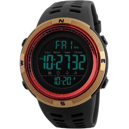 Skmei 1251 Gold Red Chronograph Digital Sports Digital Watch - For Men