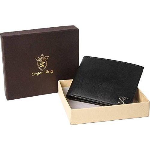 Styler King Boys Black Genuine Leather Wallet(6 Card Slots)