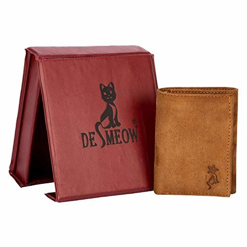 De Meow Men's Genuine Leather Wallet (Multi-Colour)
